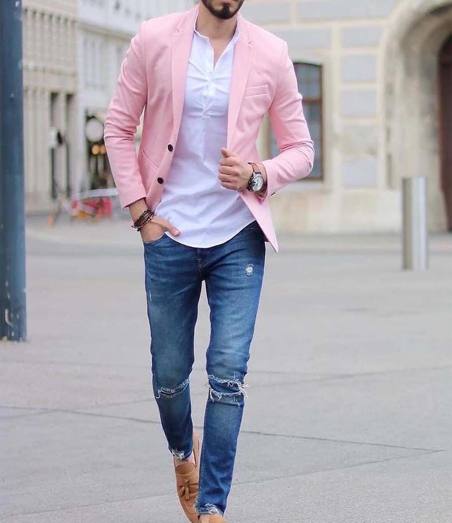 Pink Blue Combination With Brown Shoes Cleverstyling Blazer Outfits Men Pink Blazer Outfits Pink Blazer Men