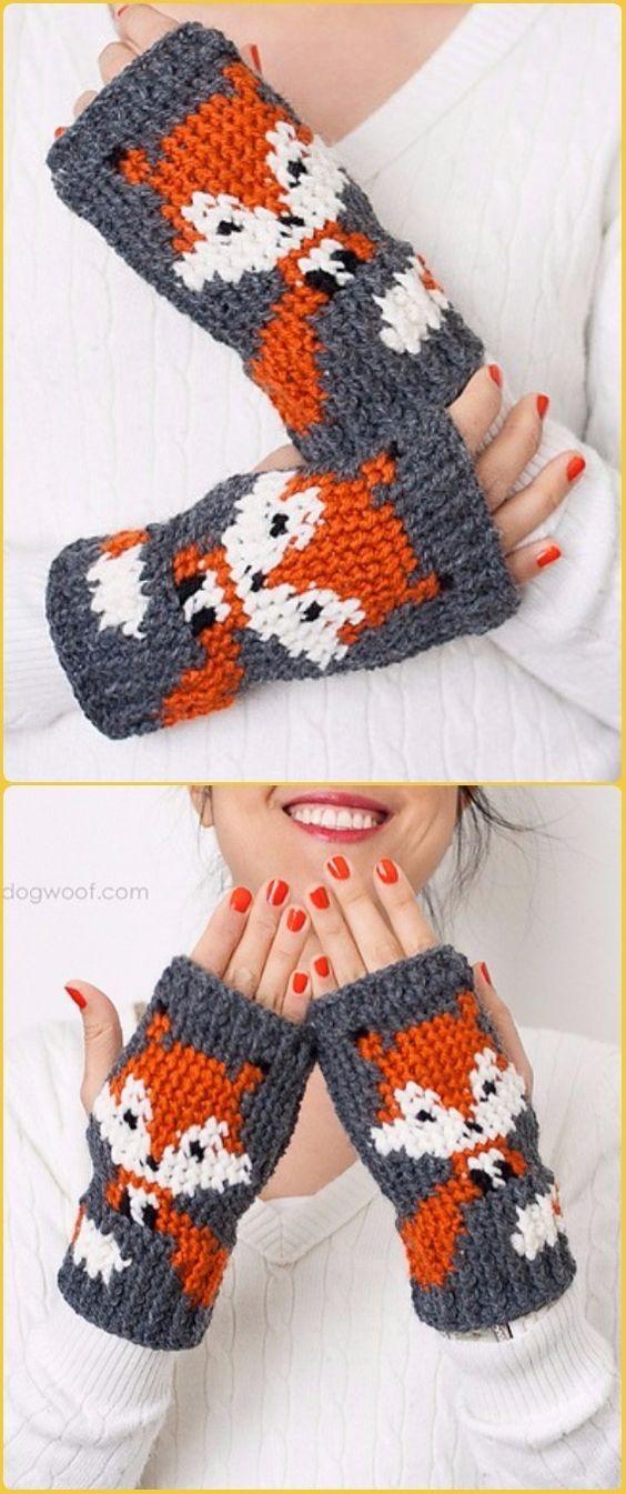 Crochet Foxy Fingerless Gloves Free Pattern - Crochet Arm Warmer ...