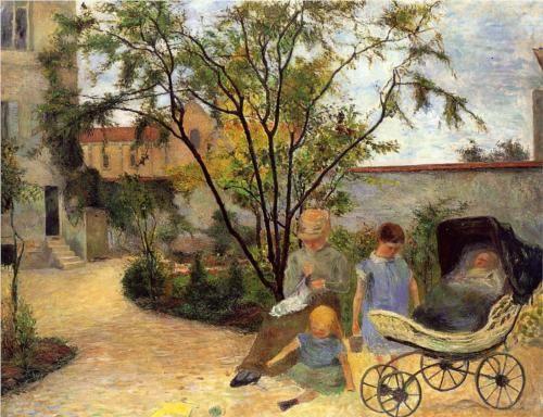 Garden at Vaugirard. 1881. Gauguin portrays his wife & children in the garden of rue Carcel.