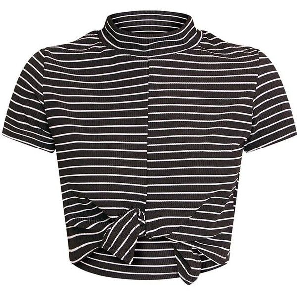 70e83f179fc Luisia White Stripe Knot Front Crop T Shirt ($16) ❤ liked on Polyvore  featuring tops, t-shirts, striped t shirt, stripe top, white striped t shirt,  ...