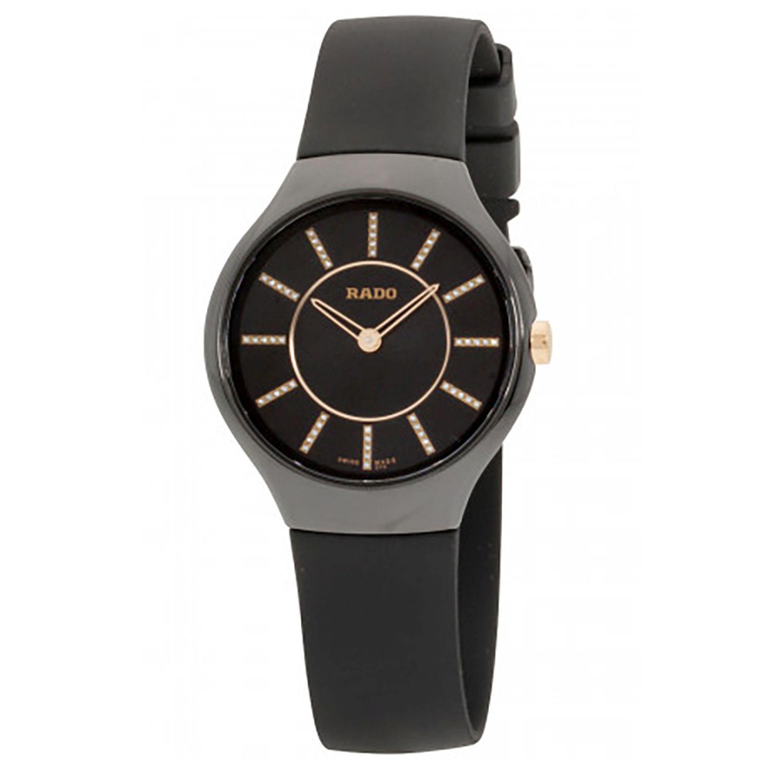 Rado R27742709 Womens True Thinline Black Quartz Watch In 2020 Quartz Watch Black Quartz Quartz