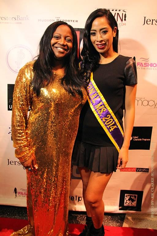 Jeannette Josue as National Ms. 2014 at the Jersey City Fashion Week 2014 with ceo DESHA JACKSON