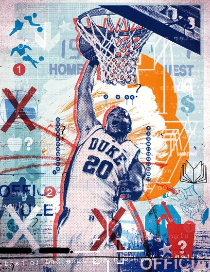 Alex Williamson – Basketball  Layers of images and illustration create texture and depth. Drawn to the distressed color tones.
