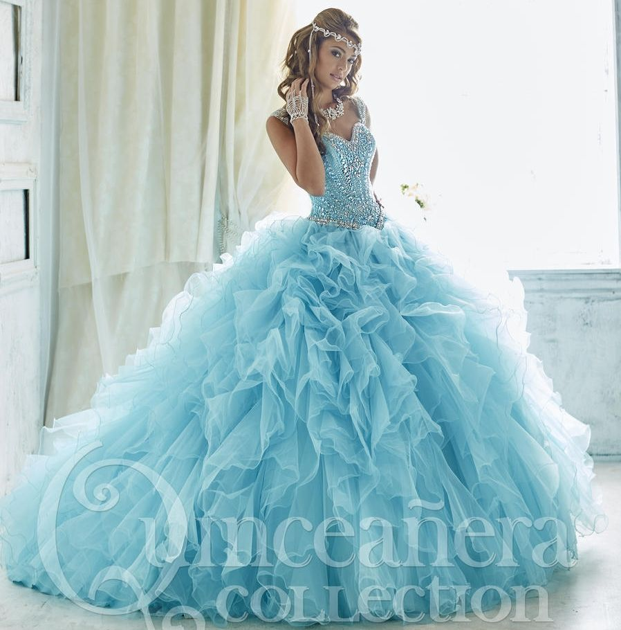 Stunning Sky Blue Puffy Quinceanera Gowns Sweetheart Beaded Ball ...