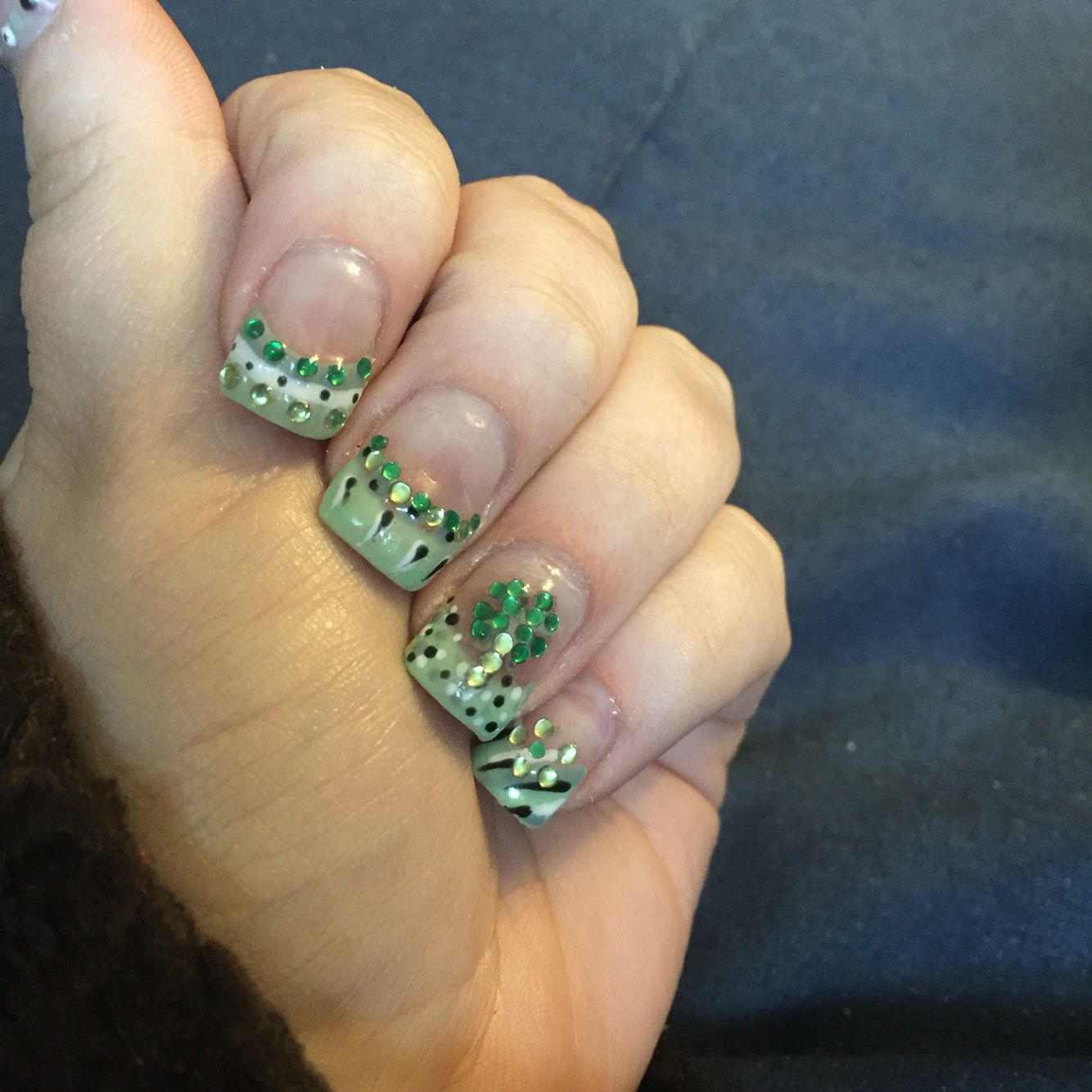 St Patrick\'s day clover green jewel nails | Nail I\'ve Done ...