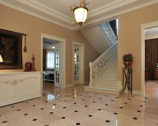 Fantastic Modern Residence Applying Classic Accent: Stunning Hall With Glossy Floor Finished In Neutral Tones Coloring And Featured With Cla...