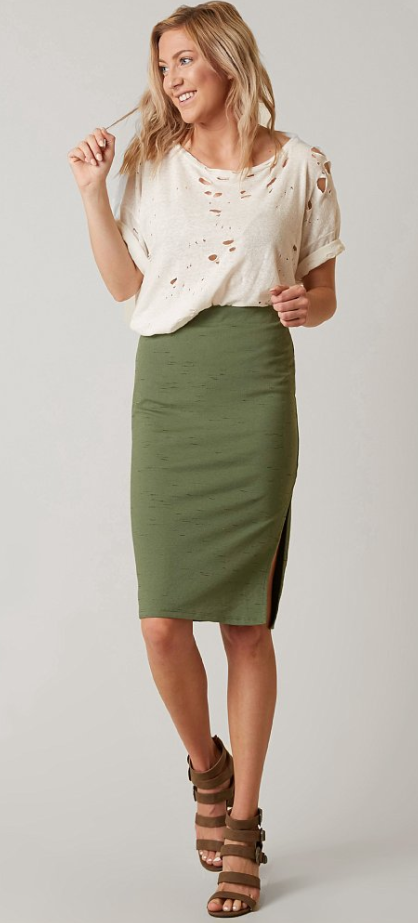 819b46474989 Casual Work Outfit : Free People Jersey Pencil Skirt | Buckle | Fall ...