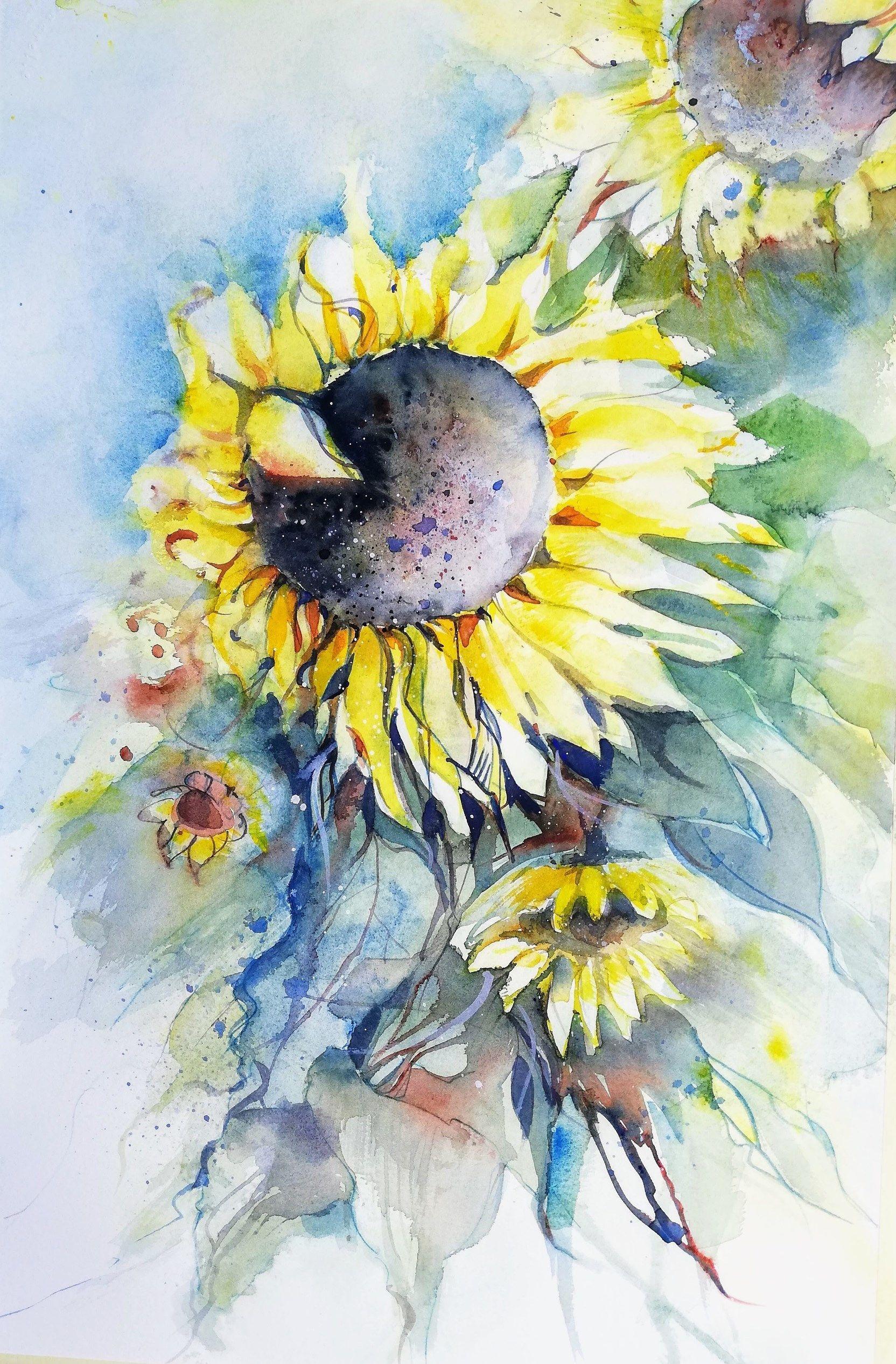 Sonnenblumen In 2020 Sonnenblumenbilder Blumen Aquarell Blumen