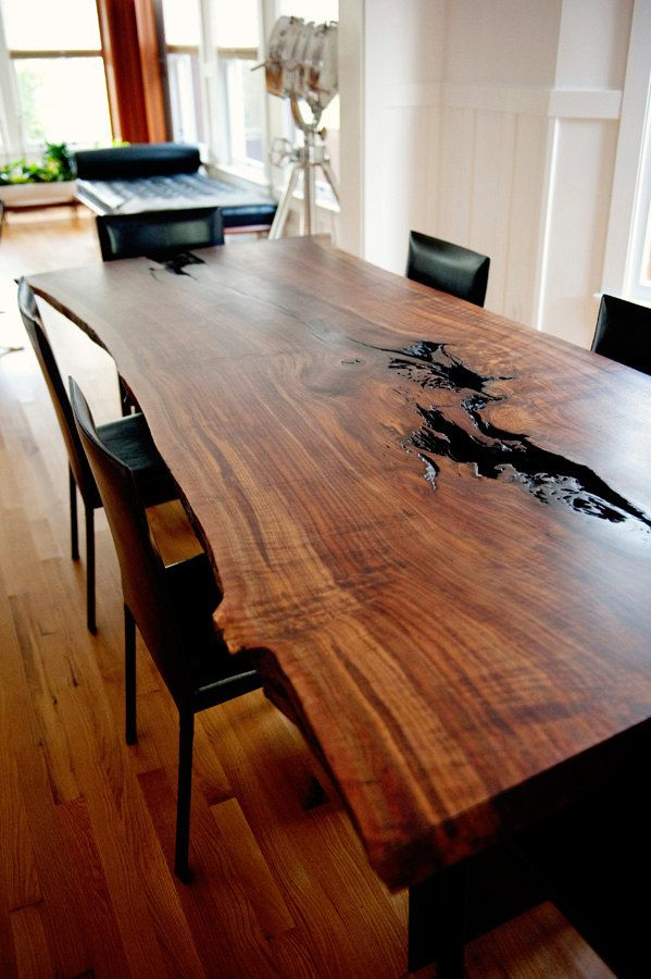 Modern Live Edge Claro Walnut Slab Dining Table By