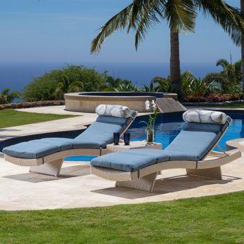 Portofino Comfort 3 Piece Chaise Loungers In Newport Blue