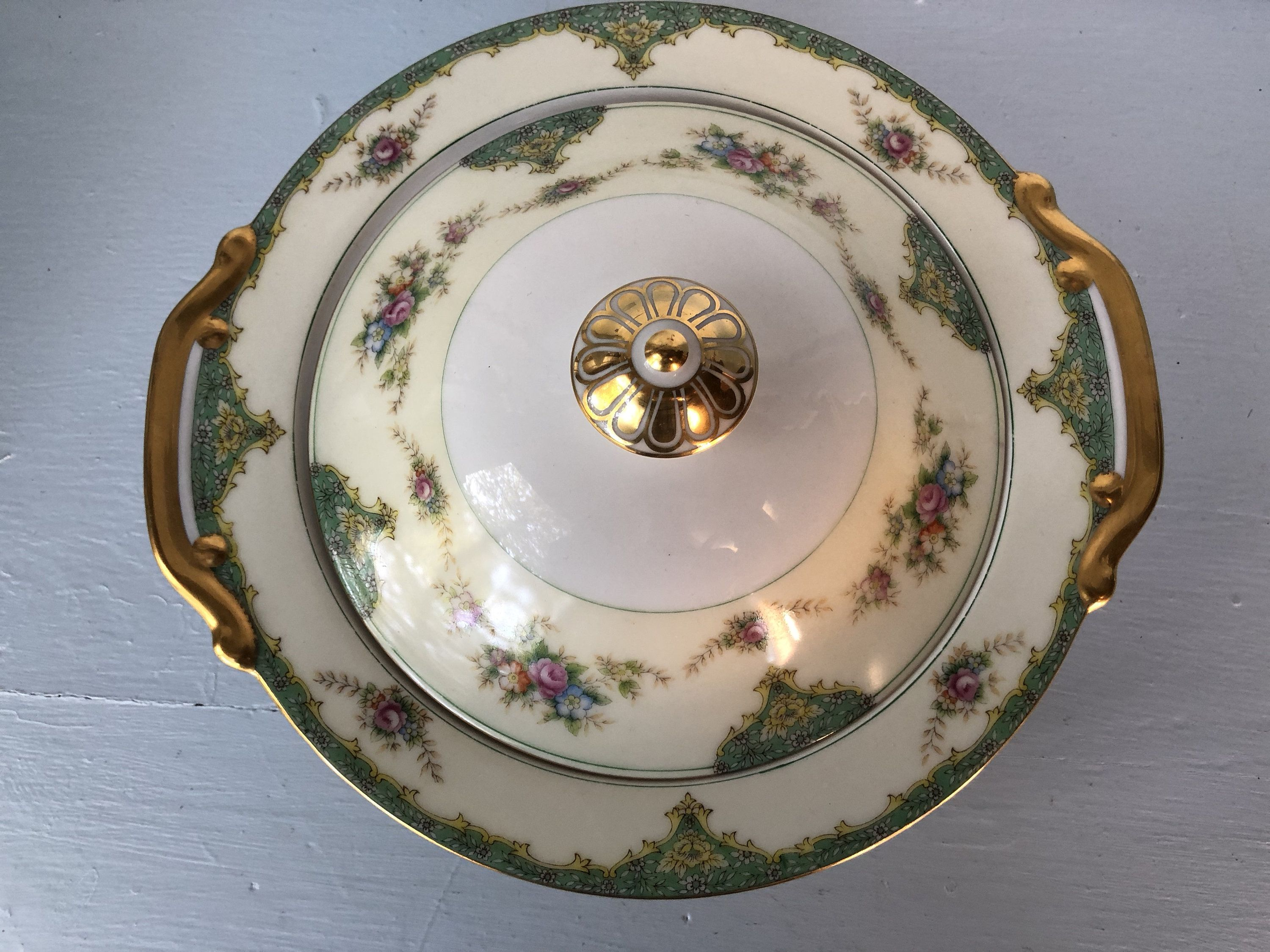 Set Of Two Vintage Meito Empire China Rosella Floral Gold Trimmed 11 Oval Vegetable Serving Dishes Bowls