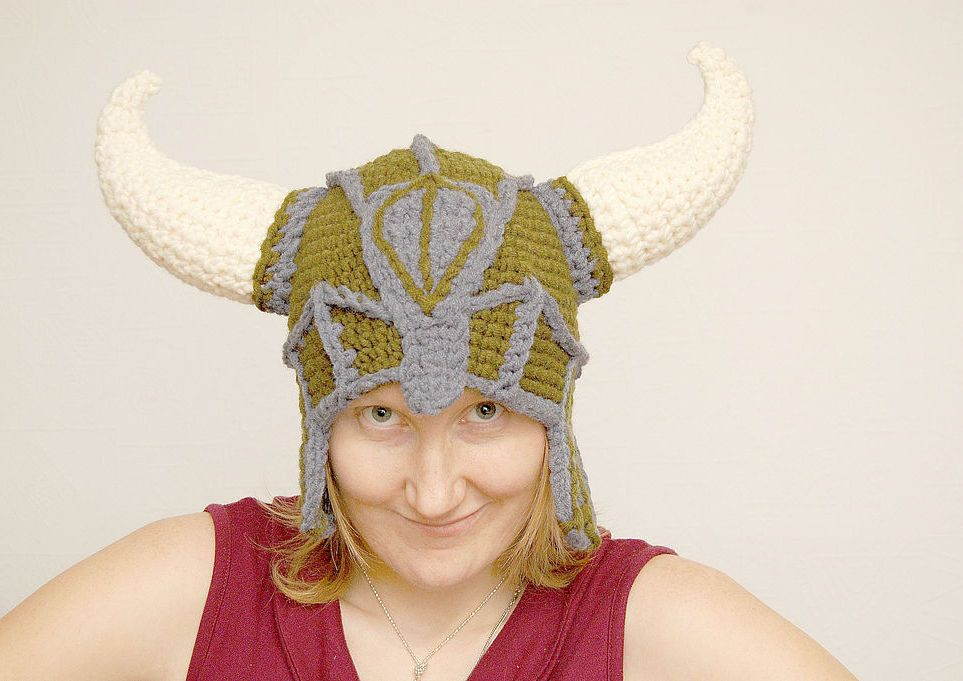 Brown Viking crochet helmet boyfriend gift girlfriend gift