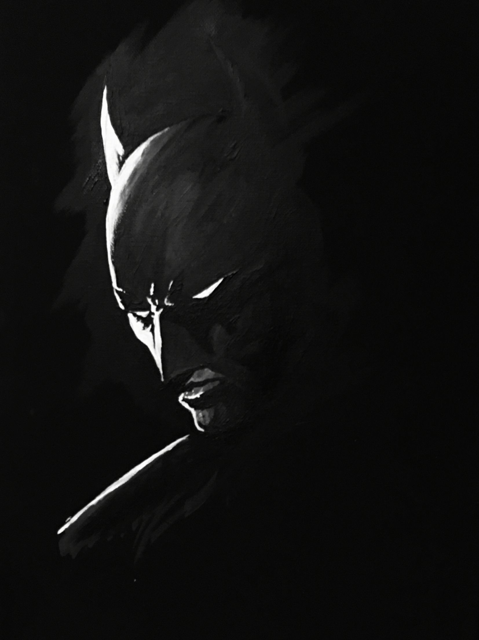 Batman acrylic painting in black and white on a canvas diy canvasses