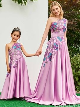 d167b934d One Shoulder A Line Appliques Matte Satin Flower Girl Dress I love this  dress. And You?