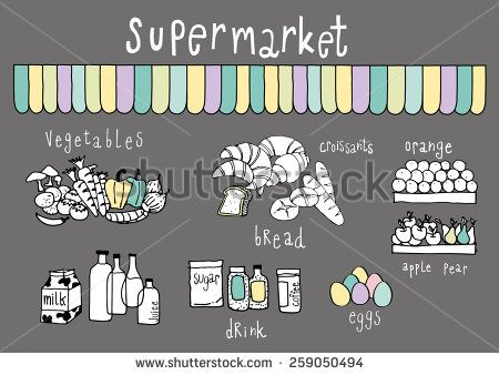 Supermarket Doodle Dark Grey background with pastel color accent - stock vector
