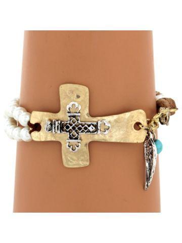 Double Sideways Cross Bracelet