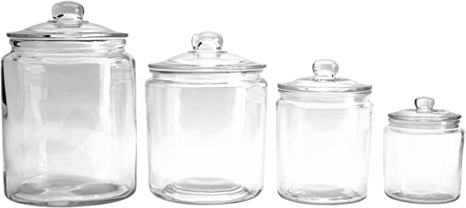 Amazon Com Mason Craft More Airtight Kitchen Food Storage Clear Glass Pop Up Lid Canister 4 Piec In 2020 Glass Storage Jars Clear Glass Canisters Square Glass Jars