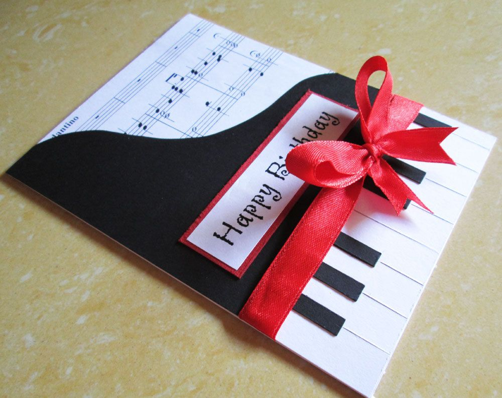 piano inspired card for him tarjetas Pinterest – Handmade Birthday Card for Lover