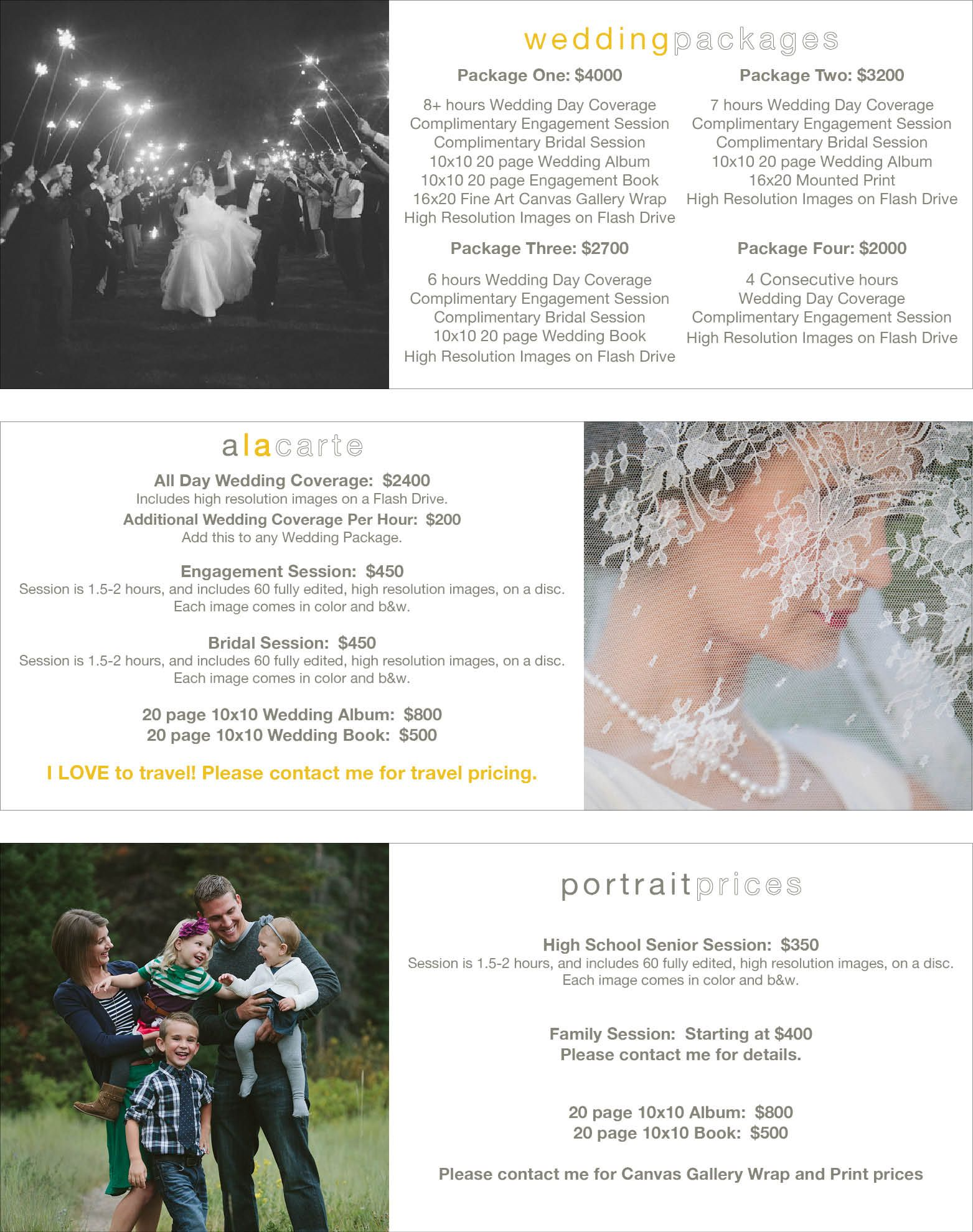 Travis J Photography Pricing List