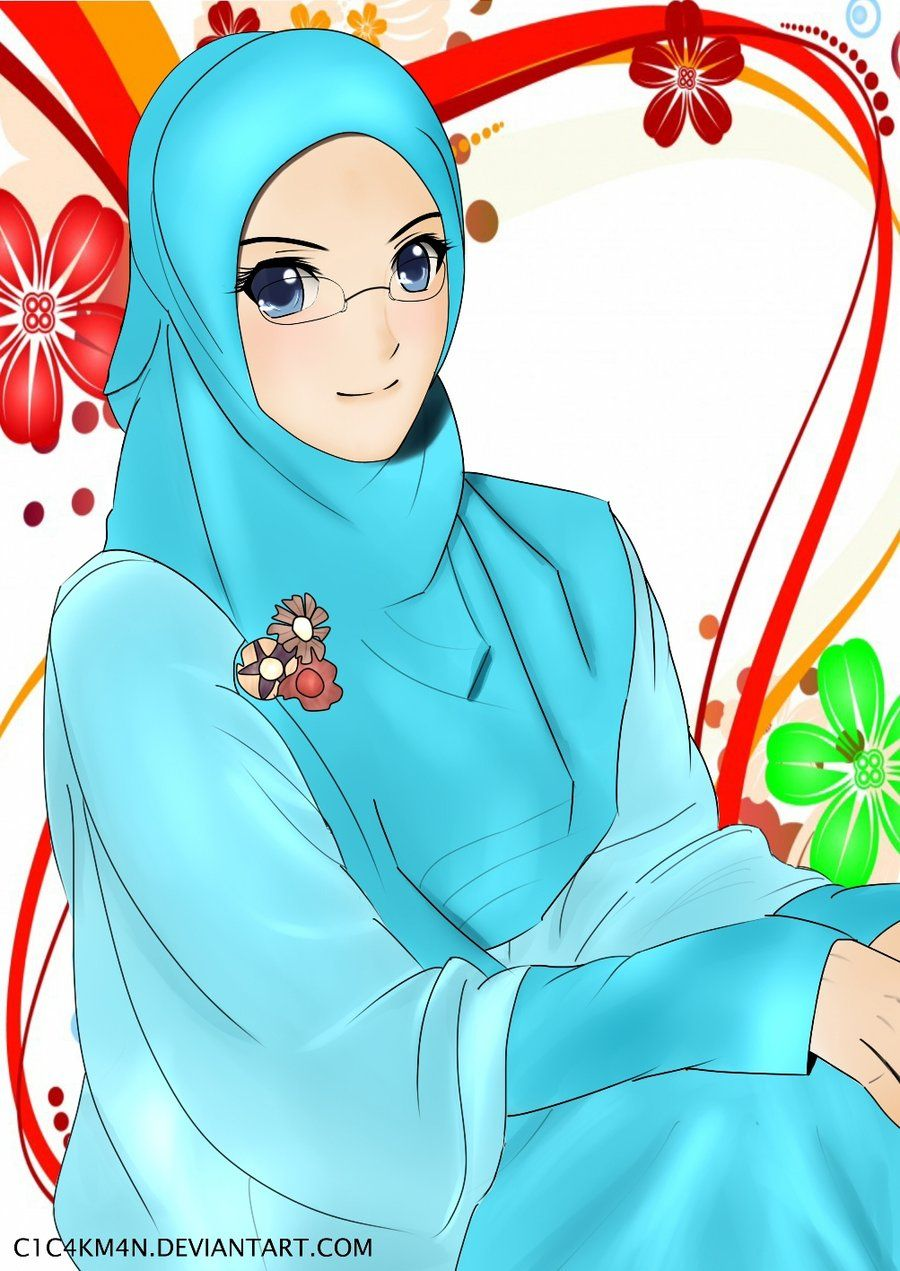 Blue Hijab and Glasses Anime muslim, Anime muslimah
