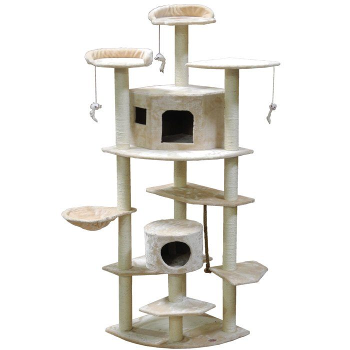 You Can Now Pamper Your Adorable Pets With The Go Pet Club 80 Quot Cat Tree Featuring A Beige Finish This Cat Tree Wil Cat Tree House Pet Furniture Cat Tree