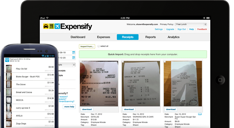 Expensify helps you track expenses  Scan receipts so that come tax