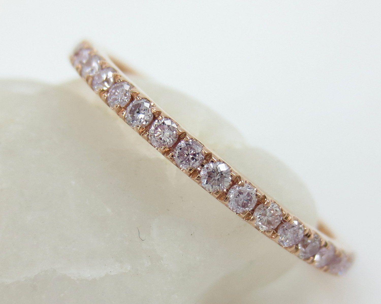 476e447a3 1.5mm Light Pink Diamond Pave Eternity Band - Stacking - Wedding Band