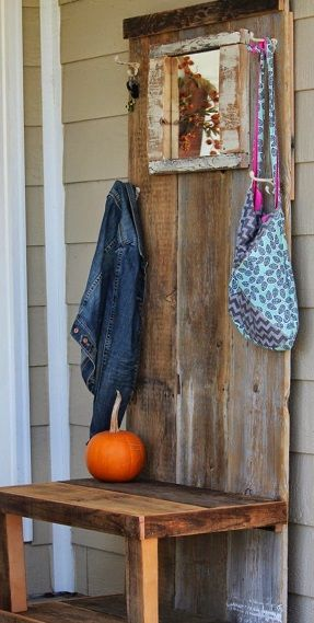 recycled plank coat rack