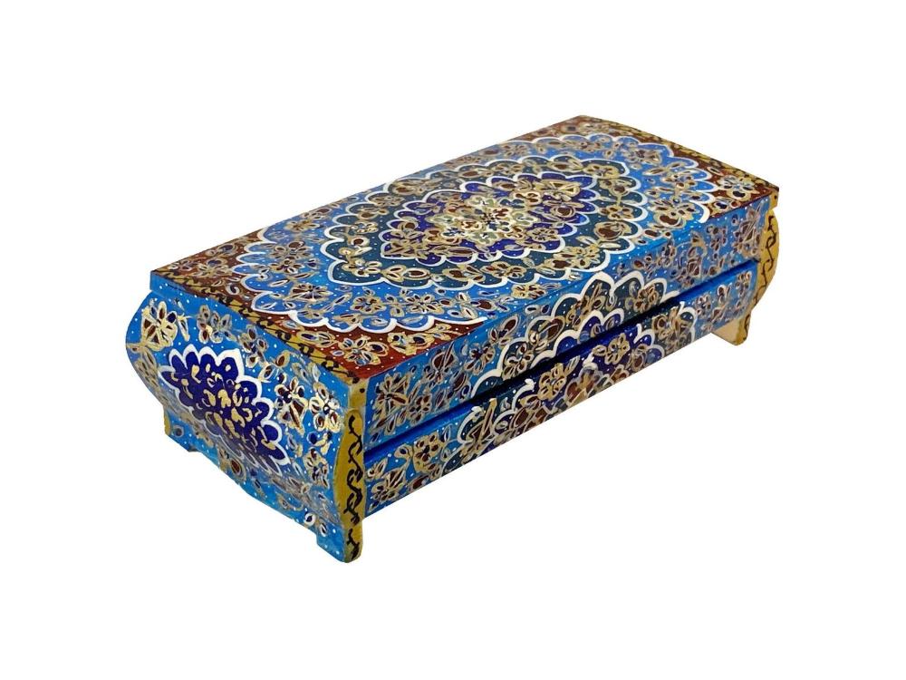 Decorative Box Tazhib Art,Islamic Art,Hand painted Vintage jewellery boxes middle eastern decor Sufi Art
