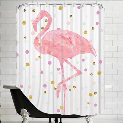 Brayden Studio Peach Gold Flamingo On Confetti Single Shower Curtain Flamingo Bathroom Decor Flamingo Shower Curtain Pink Shower Curtains