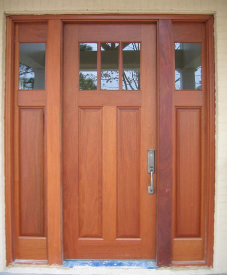 Craftsman exterior wood front entry door dbyd 4009 diff for Black wooden front door