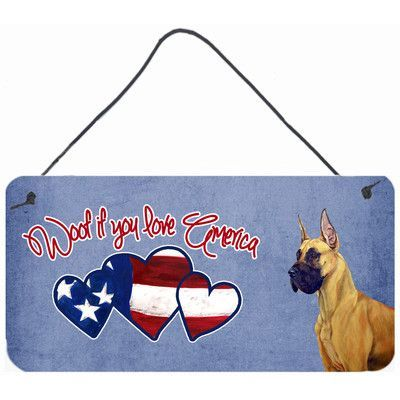 Caroline's Treasures Woof if you love America Great Dane by Lyn Cook Painting Print Plaque