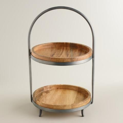 Wood And Metal 2 Tier Serving Stand Serving Stand Wood And Metal Wooden Cake Stands