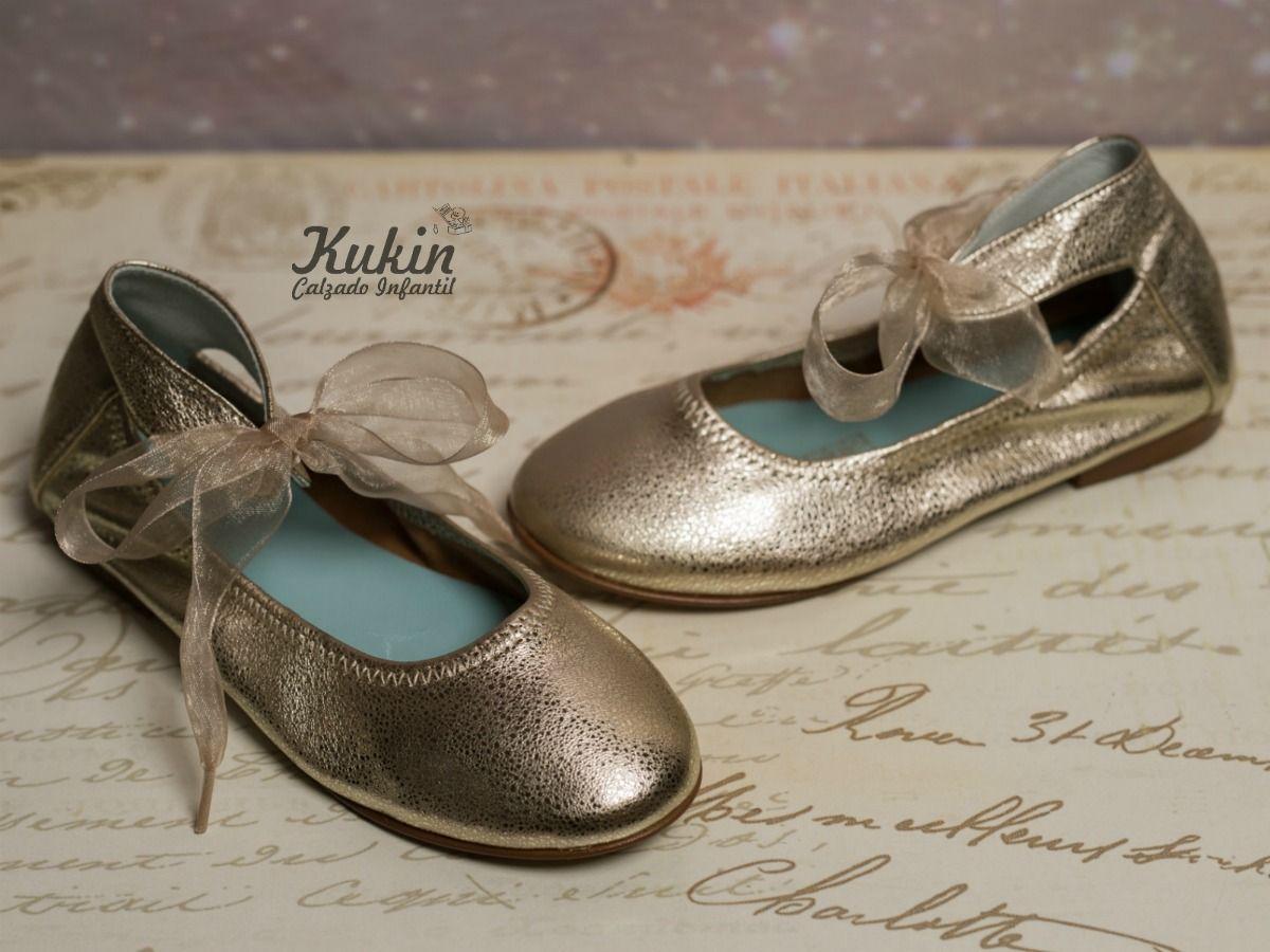 Zapatos dorados infantiles CJ7TPXGyk
