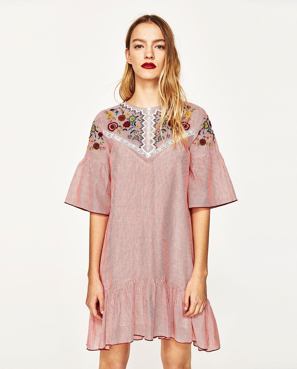 ROBE À RAYURES BRODÉE - Disponible en d\'autres coloris | Robes ...