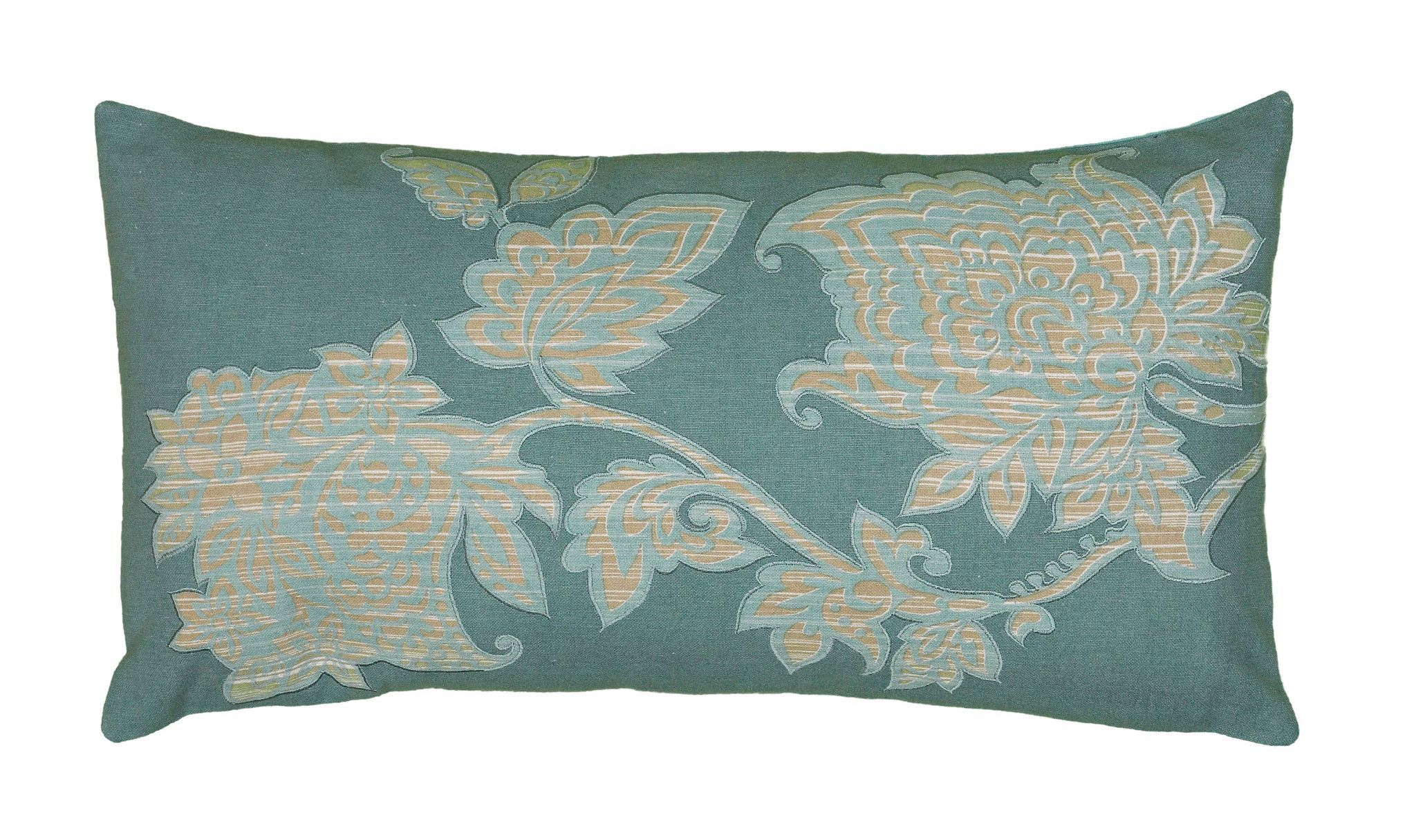 """Printed with Embroidered Teal Pillow Cover (11"""" x 21"""")"""