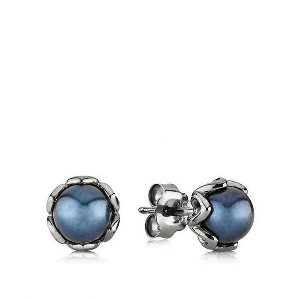 PANDORA Stud Earrings - Black Rhodium & Blue Pearl Cultured Elegance ($50) ❤ liked on Polyvore