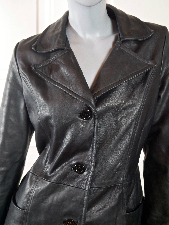 Vintage Black Leather Blazer Women  Black Buttoned Leather Jacket  Midi Length Fitted Coat  Size Medium  Vintage clothing