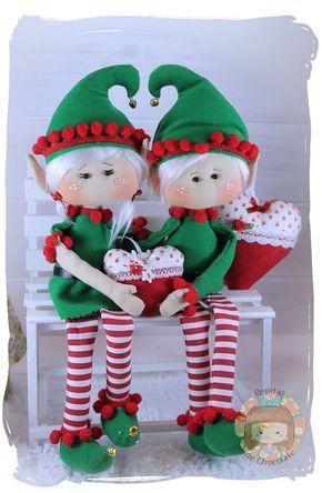 Manualidades Duendes De Navidad.Pareja De Duendes Navidenos By Pepitas De Chocolate