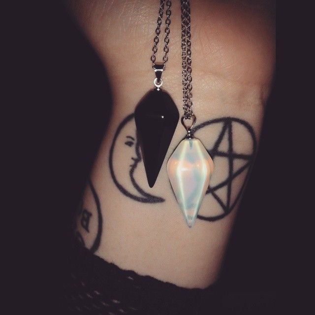 "Amyhorror: "" New Pendants. Opalite And Black Agate. For"
