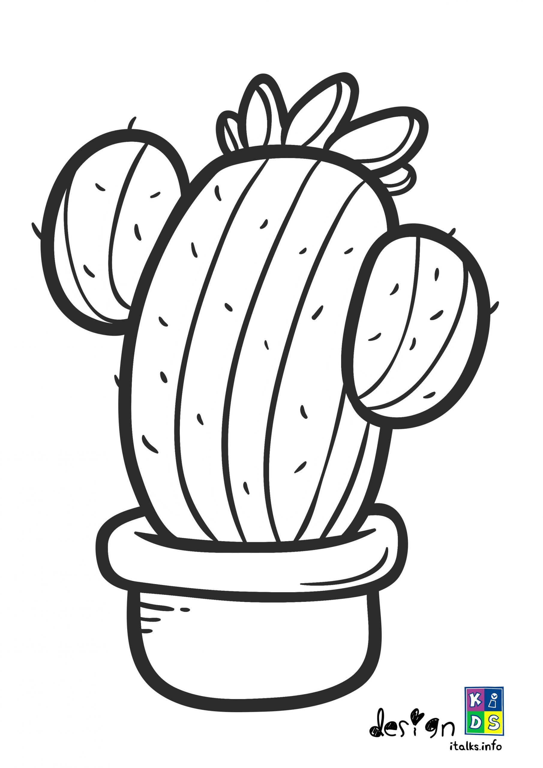 Easy Cactus Coloring Page For Toddler In 2020 Free Printable