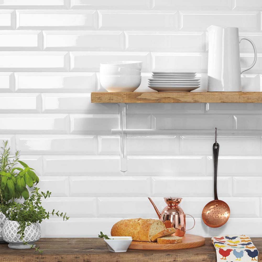 Daltile Finesse Bright White 3 In X 12 In Ceramic Sharp Bevel Wall Tile 12 Sq Ft Case Fe01312bevhd1p The Home Depot White Subway Tile Kitchen White Beveled Subway Tile