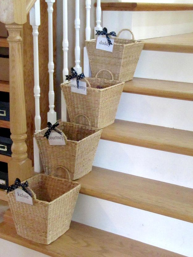 """If you live in a house with three or more people, give everyone a designated """"crap basket.""""   7 Easy Organizing Tricks You'll Actually Want To Try"""
