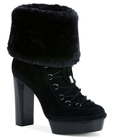 Calvin Klein Women's Booties, Keona High Heel Faux-Fur Cold Weather Booties  Web ID: 750005