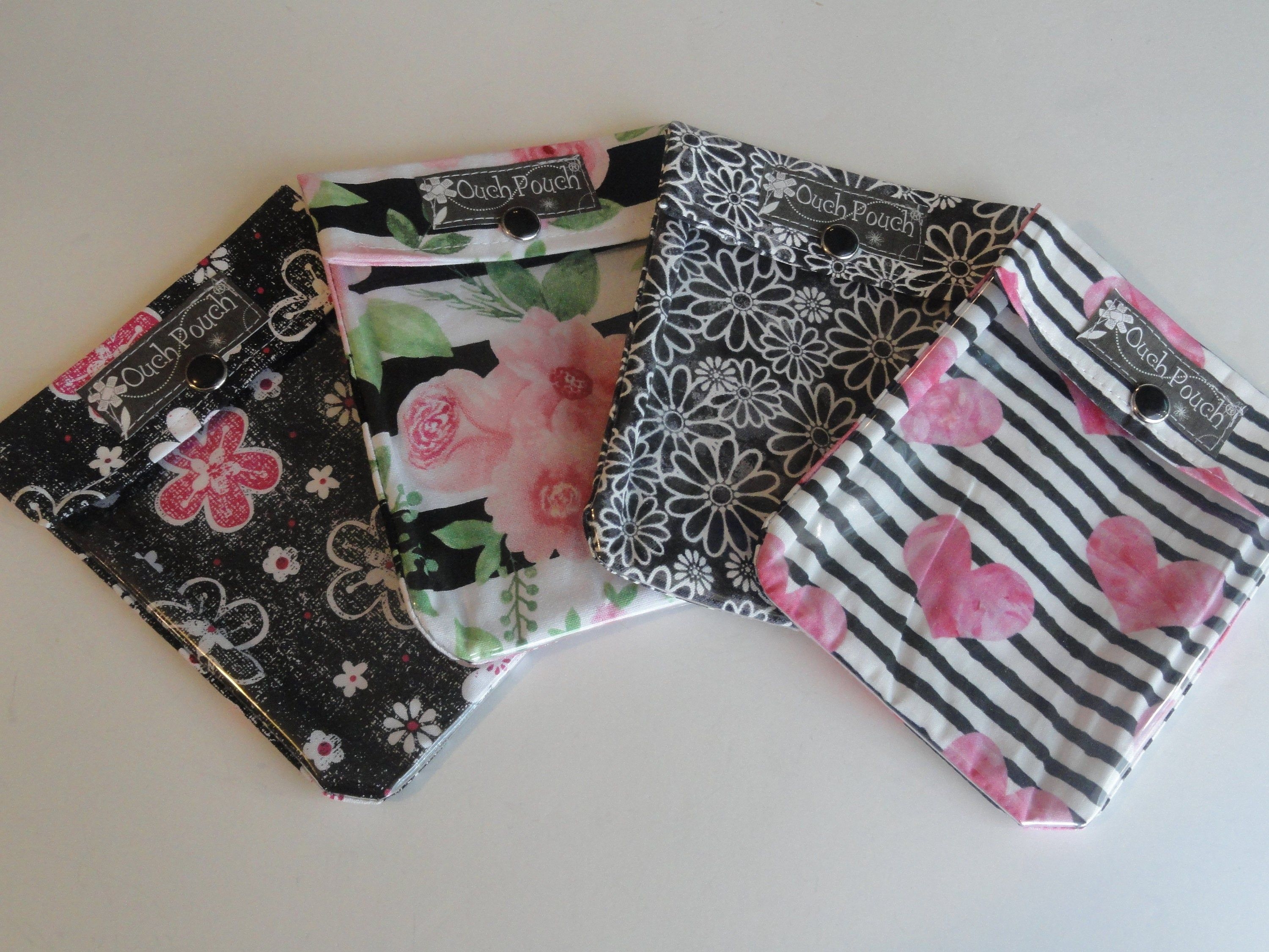 Black Floral Clear Front Bags Ouch Pouch 4 Pack Purse Inserts
