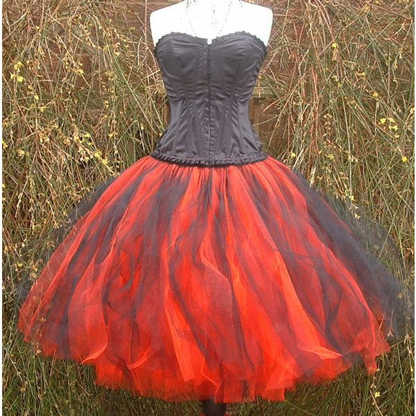 11c6e254f5 Handmade Womens Tutu Skirt Long Red Black Tulle Goth Alternative... ($65) ❤  liked on Polyvore featuring dresses, grey, skirts and women's clothing