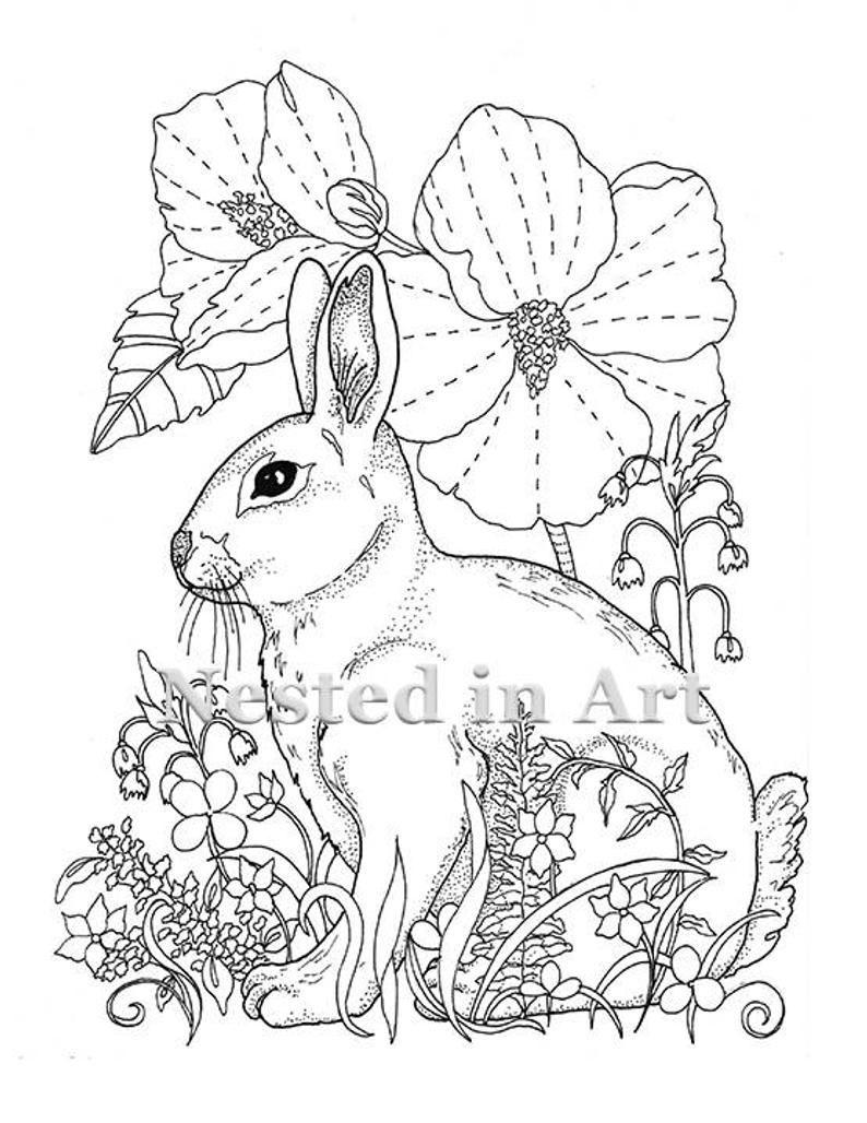 Adult Coloring Page Bunny and Hibiscus Digital Download  Etsy Bizarre tamponnement dœCelui sur bizarre projet en tenant quilling rame après vous pourriez d&e...