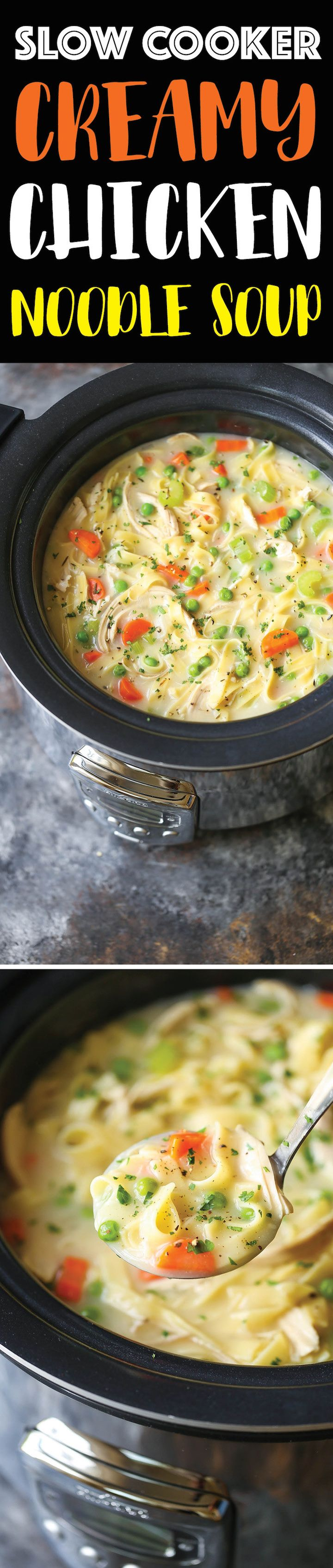 slow cooker creamy chicken noodle soup  recipe  slow