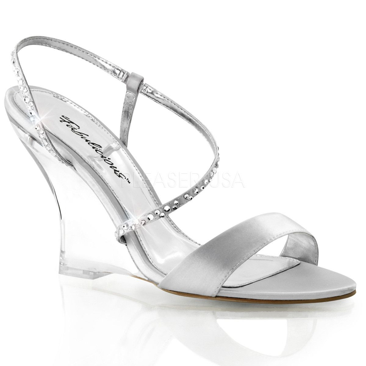 fabulicious lovely 417 silver satin clear slingback wedges