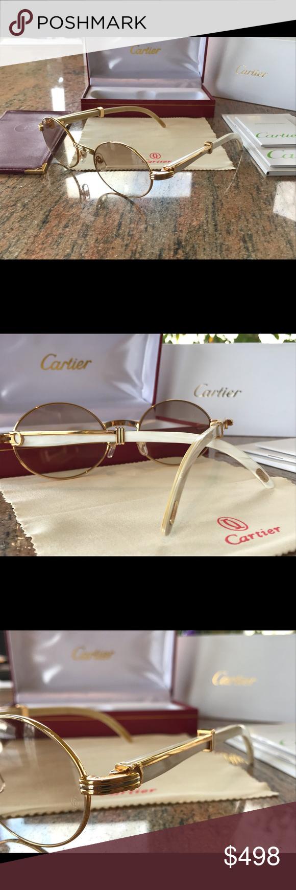 "212eb83fdee Cartier White Horn Gold Sun Glasses Cartier White Buffalo Horn Gold "" Sunglasses"